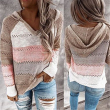 Load image into Gallery viewer, Ladies Casual Rib Knitted Hooded Sweatshirts