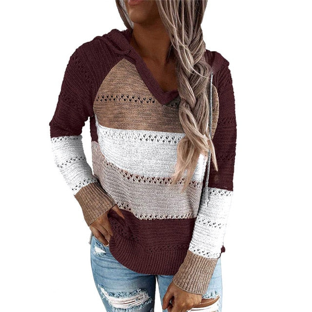 Ladies Casual Rib Knitted Hooded Sweatshirts