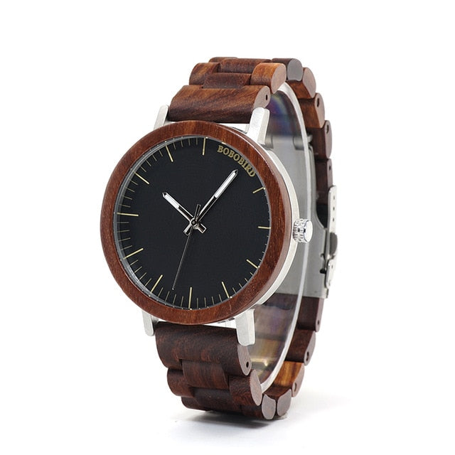 Mens Analog Quartz Lightweight Vintage Wristwatch with Wooden Gift Box