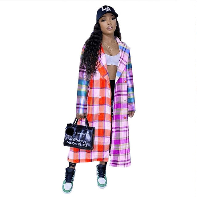 Ladies Plaid Long Sleeve Fall Jackets