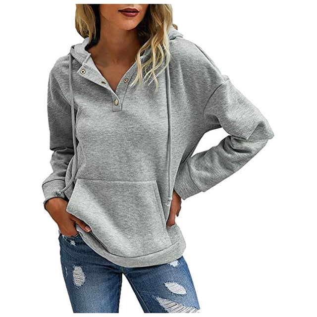 Winter Warm Women's Thick Long Sleeve Solid Hoodies