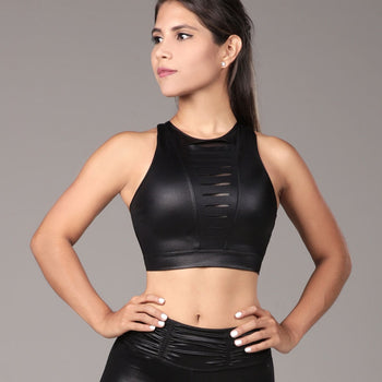 Sports Bra Laser Cut Black
