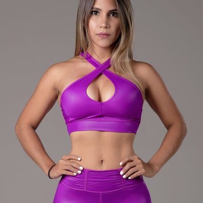 Cross Sports Bra Fucshia