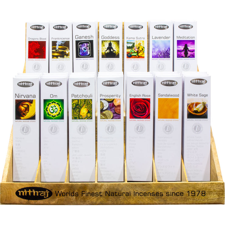 Wooden Display Package Deal - Nitiraj Platinum 100% Natural Incense