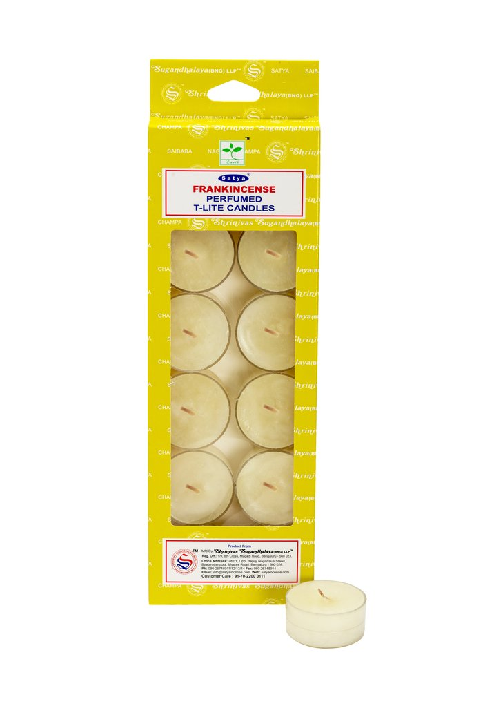 Satya Frankincense Perfumed T-Lite 100% Natural Candles