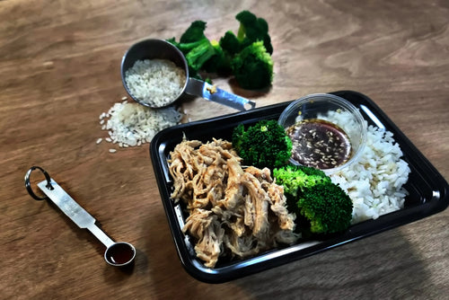 Shoyu Chicken with White Rice and Broccoli