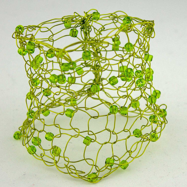 309B Beaded Wire Cuff- Light Green