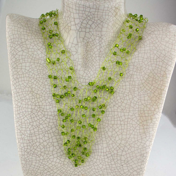 Wire Vneck Necklace-Light Green