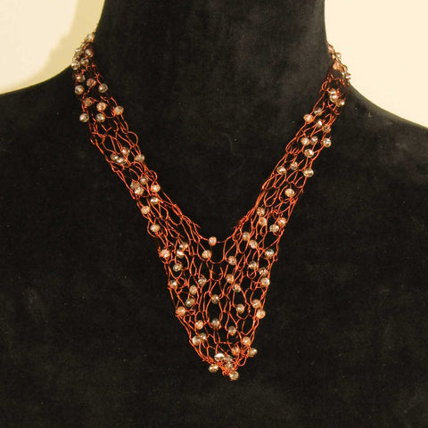 344N Wire Vneck Necklace-Copper