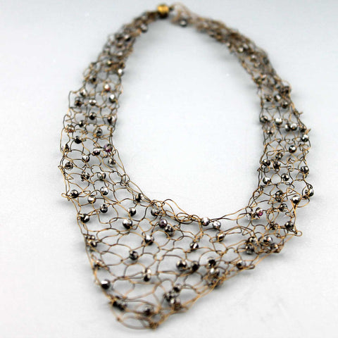 346N  Wire Vneck Necklace-Grey