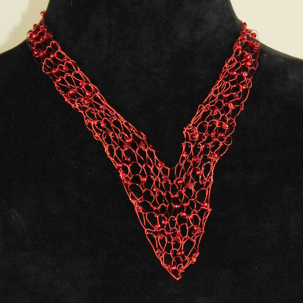 351N Wire Vneck Necklace-Red