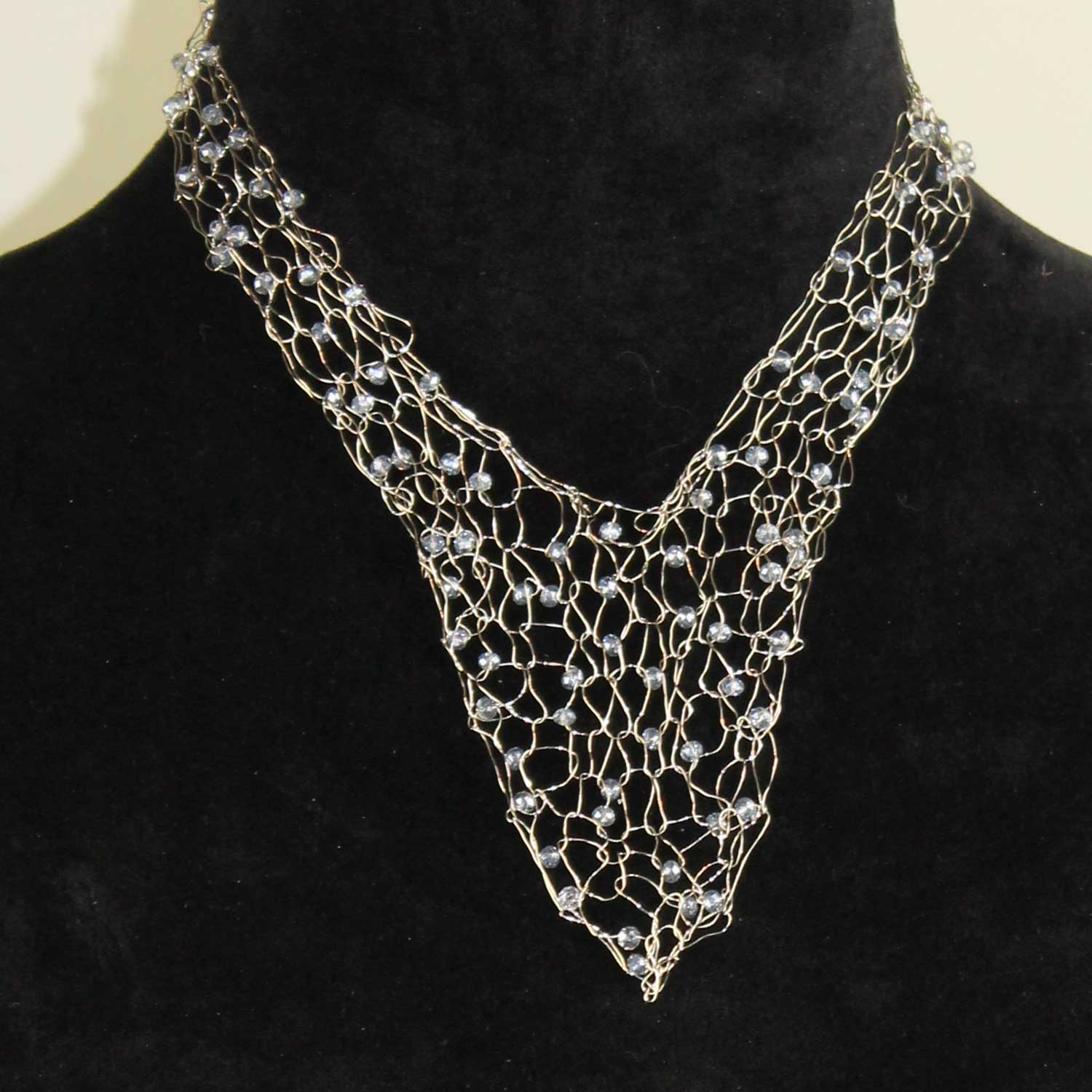 Wire Vneck Necklace-Silver