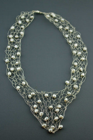 Wire Vneck Necklace- Silver with Pearl