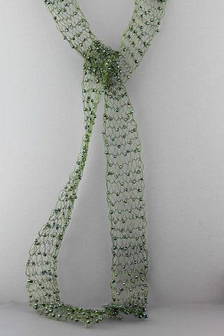 366N   Beaded Wire Scarf-Green
