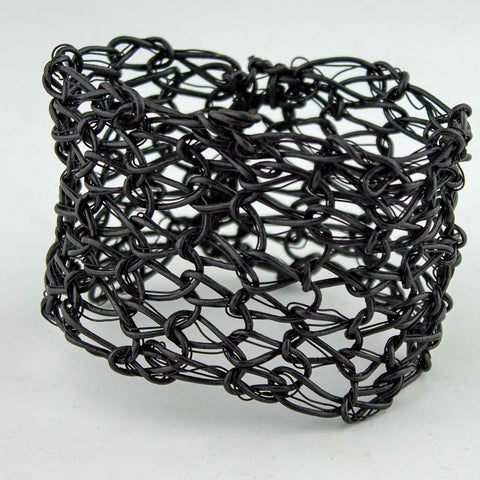 401B  Leather and Wire cuff- Black