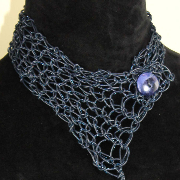 443N Leather and Wire Collar- Blue