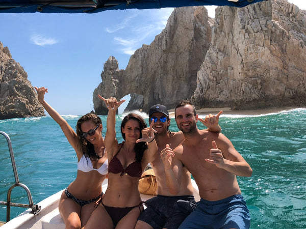 Private boat in Cabo San Lucas, Mexico, Sydne Summer, Jessica Lowndes, Jacob Grills, Matt Grills.