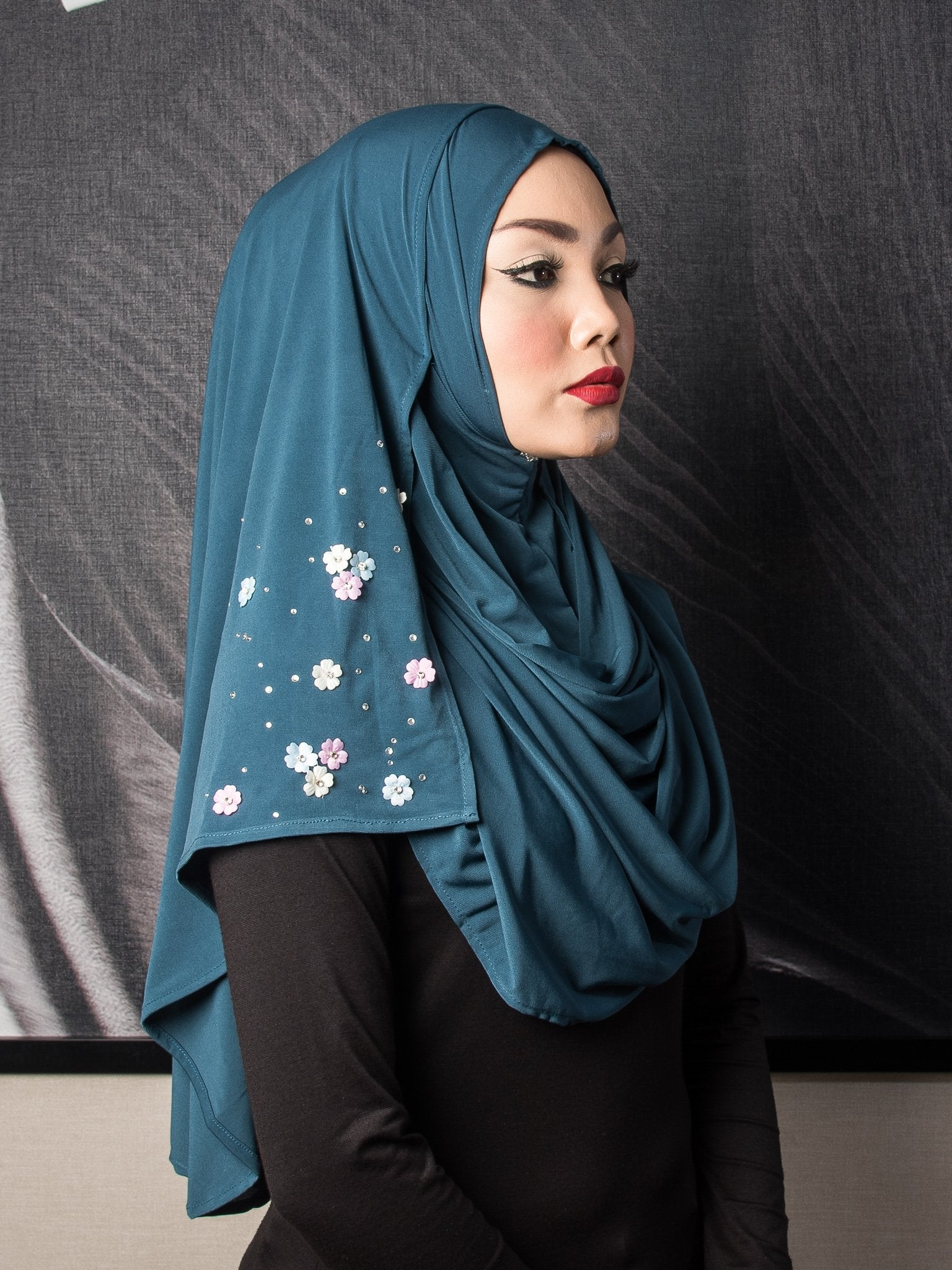 Mini Flowers Instant Shawl - Peacock Blue