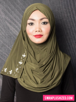 Beads Instant Shawl - Army Green