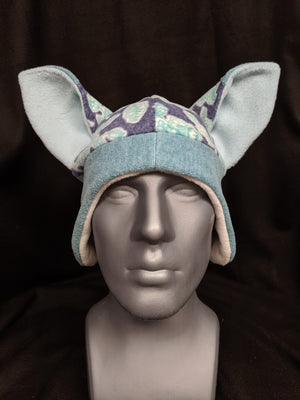 Blue Floral Fox Hat