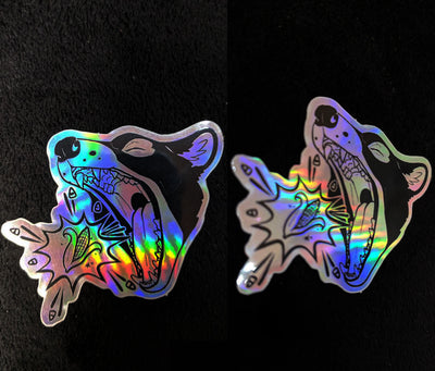 Holographic CornCon Head Logo Sticker