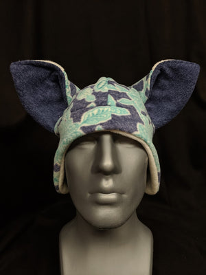Dark Blue Floral Fox Hat