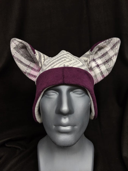 Grey And Purple Plaid Fox Hat