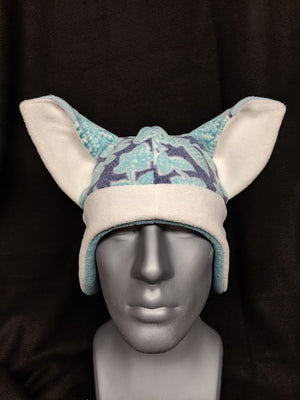 Light Blue Floral Fox Hat