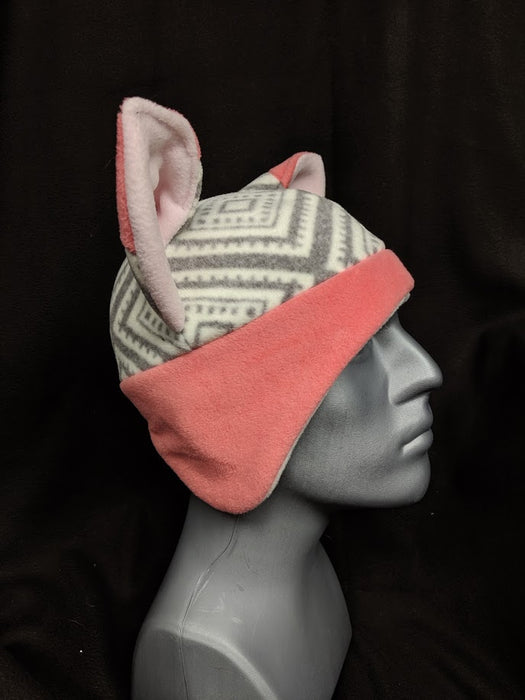 Pink and Grey Fox Hat
