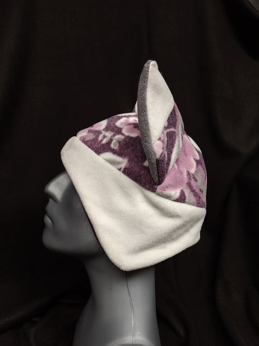 Purple Floral With White Fox Hat