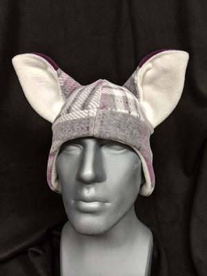 Purple Plaid Fox Hat