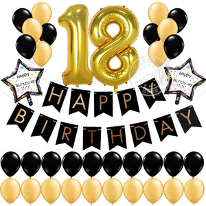 Gold And Black Colour 18th Birthday Decoration Kit With Banner Balloons