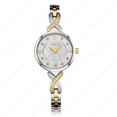 AMICA Golden Stainless Steel Case Bracelet Clasp Women Fashion And Trendy Watches TW015-2465-1