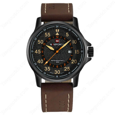 NAVIFORCE Black Plating Case Brown Leather Strap Quartz Fashion Men's Watches TW027-NF9076BYDBN