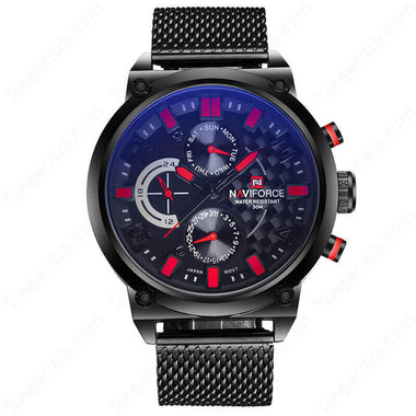 NAVIFORCE Alloy Case  Black Stainless Steel Band Red Dial Casual Men's Watches TW027-NF9068BRB