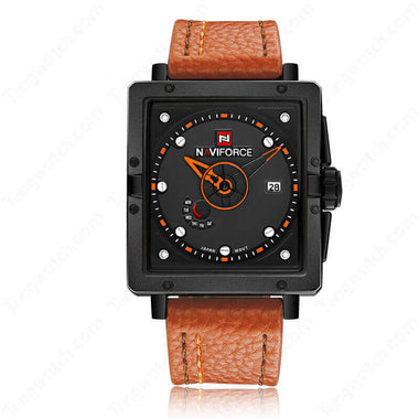 NAVIFORCE Rectangular Alloy Case  Brown Leather Strap 30m Waterproof Fashion Male's Watches TW027-NF9065BOBN