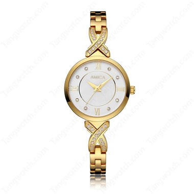 AMICA Golden Stainless Steel Case Bracelet Clasp Ladies Watches TW015-2465-3