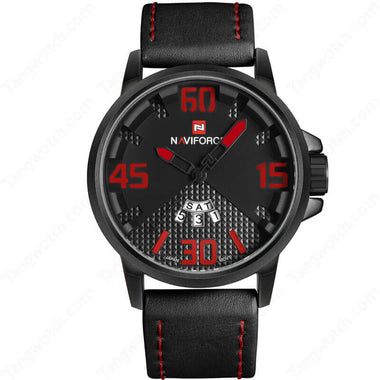 NAVIFORCE Alloy Case Black Leather Strap Red Dial Casual Men's Watches TW027-NF9087BRB