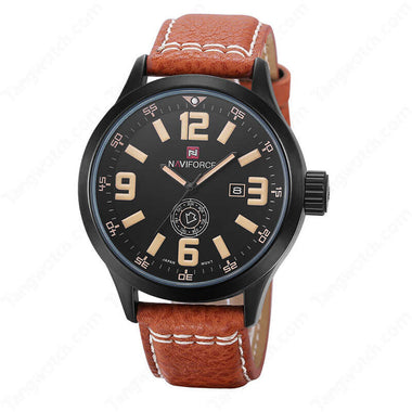 NAVIFORCE Black Plating Case  Brown Leather Strap Yellow Dial Quartz Male's Watches TW027-NF9057MBBY