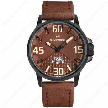 NAVIFORCE Alloy Case Brown Leather Strap 30m Waterproof Casual Men's Watches TW027-NF9087BCEDBN