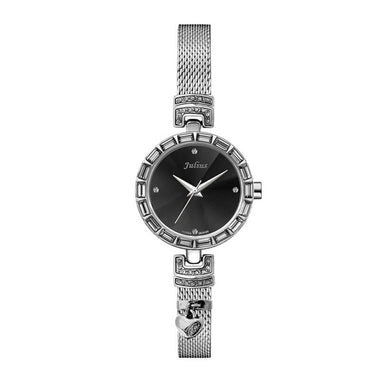 Julius IP Silver Black Dial Alloy Case Alloy Band Women's Fashion Watch TW019-JA-491B