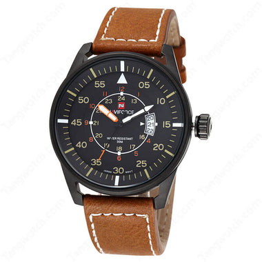 NAVIFORCE Black Plating Case Light Brown Leather Strap Casual Men's Watches TW027-NF0944MBBY