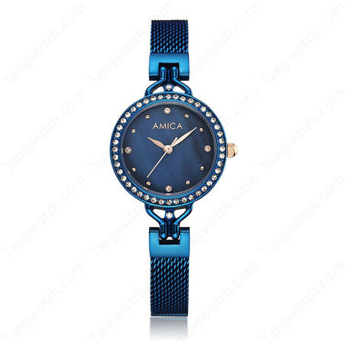 AMICA Stainless Steel Case Stainless Steel Bule Band Quartz Women's Watches TW015-2470-4