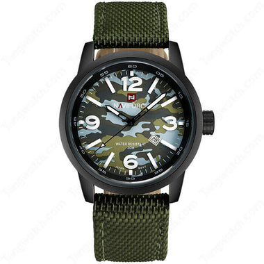 NAVIFORCE Black Plating Case Nylon Strap  Camouflage Dial Fashion Men's Watches TW027-NF9080BGYGY