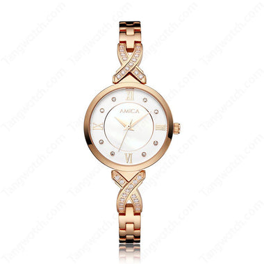 AMICA Rose Golden Stainless Steel Case Bracelet Clasp Ladies Watches TW015-2465-4