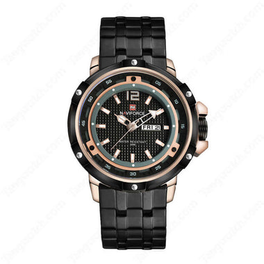 NAVIFORCE Rose Golden Case  Black Band Seiko Quartz Cool Male's Watches TW027-NF9073RGBRG