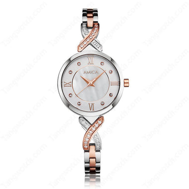AMICA Rose Golden Stainless Steel Case Bracelet Clasp Ladies Causal Hot Sale Watches TW015-2465-2