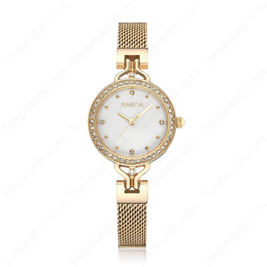 AMICA Golden Stainless Steel Case Stainless Steel Band Causal Ladies Watches TW015-2470-1