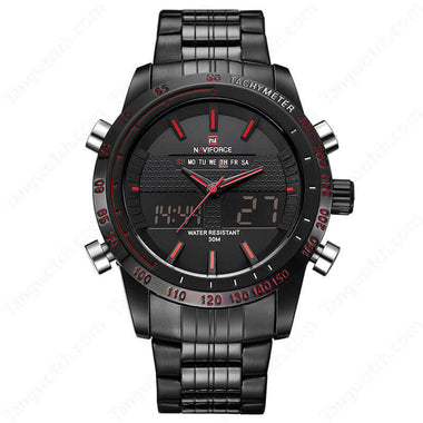 NAVIFORCE Black Plating Case Black LCD Digital Fashion Men Fashion Sport Watches TW027-NF9024BBR