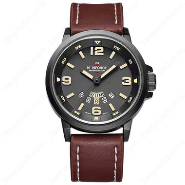 NAVIFORCE Black Plating Case Brown Leather Strap Casual Men's Watches TW027-NF9028MBBY